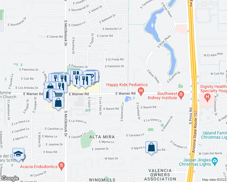 map of restaurants, bars, coffee shops, grocery stores, and more near 8748 S Kenwood Ln in Tempe