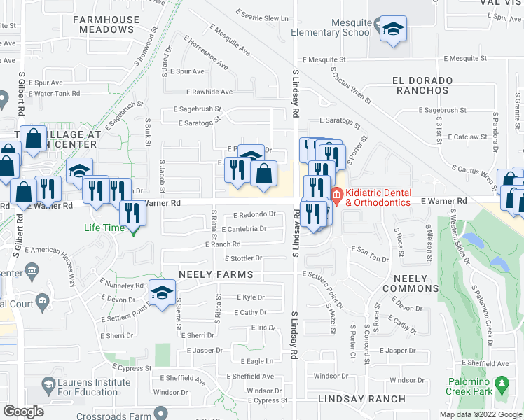 map of restaurants, bars, coffee shops, grocery stores, and more near 708 East Redondo Drive in Gilbert