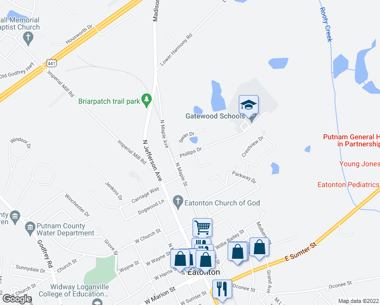 map of restaurants, bars, coffee shops, grocery stores, and more near 104 Margharetta Drive in Eatonton