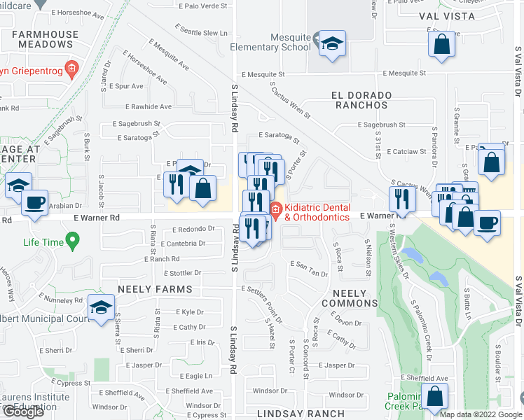 map of restaurants, bars, coffee shops, grocery stores, and more near 874 E Warner Rd in Gilbert