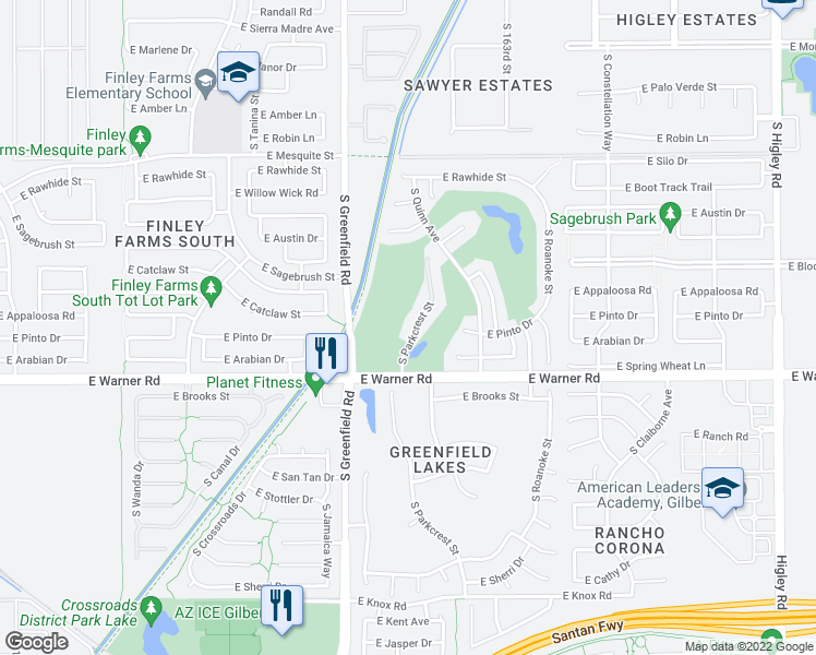 map of restaurants, bars, coffee shops, grocery stores, and more near 716 South Parkcrest Street in Gilbert