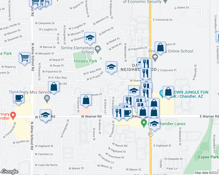 map of restaurants, bars, coffee shops, grocery stores, and more near 416 West Copper Way in Chandler