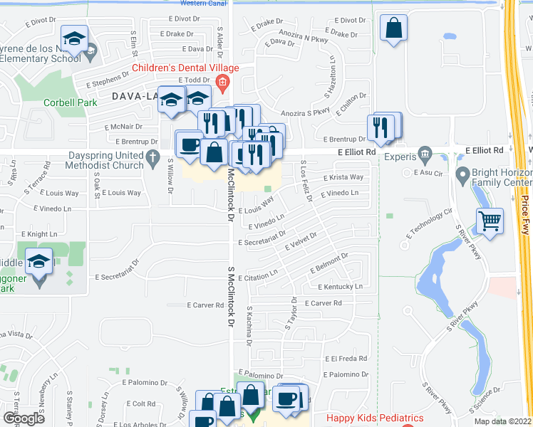map of restaurants, bars, coffee shops, grocery stores, and more near 7806 South Peach Drive in Tempe