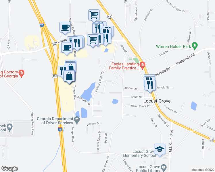 map of restaurants, bars, coffee shops, grocery stores, and more near 1030 Allegiance Drive in Locust Grove