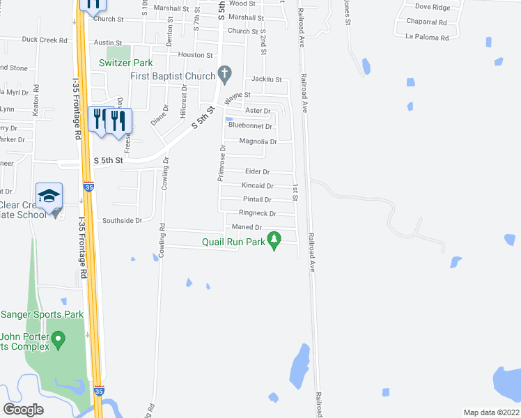 map of restaurants, bars, coffee shops, grocery stores, and more near 121 Ringneck Drive in Sanger