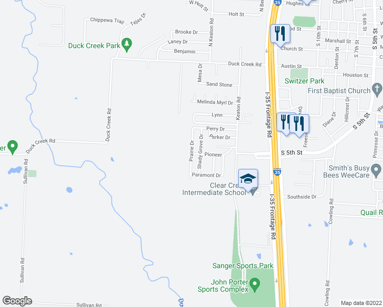 map of restaurants, bars, coffee shops, grocery stores, and more near Prairie Drive in Sanger
