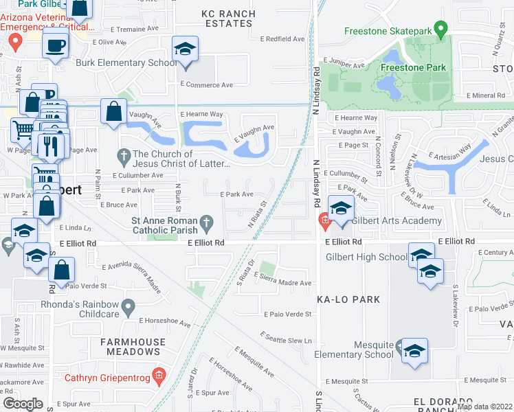 map of restaurants, bars, coffee shops, grocery stores, and more near 620 East Linda Lane in Gilbert