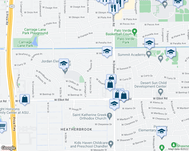 map of restaurants, bars, coffee shops, grocery stores, and more near 2124 West Silvergate Drive in Chandler