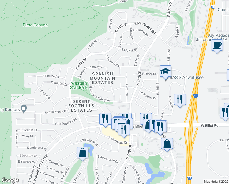 map of restaurants, bars, coffee shops, grocery stores, and more near 4601 East Sunrise Drive in Phoenix