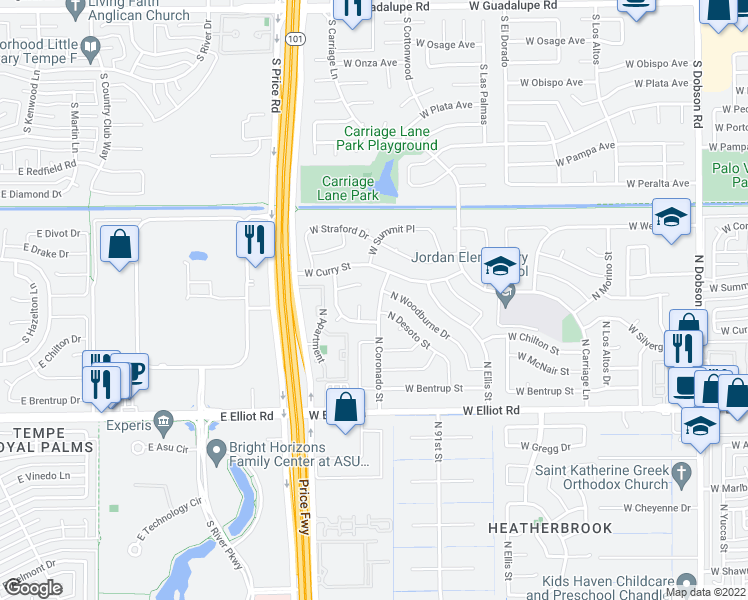 map of restaurants, bars, coffee shops, grocery stores, and more near 3306 North Coronado Street in Chandler