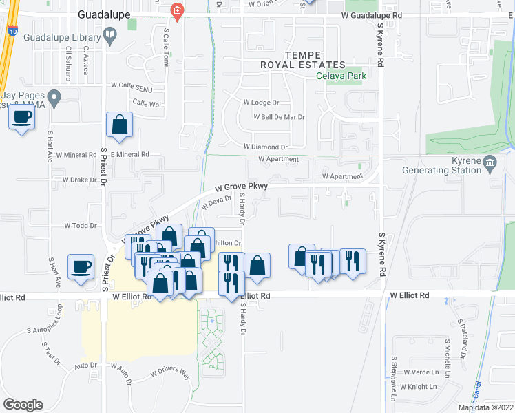 map of restaurants, bars, coffee shops, grocery stores, and more near 909 West Grove Parkway in Tempe
