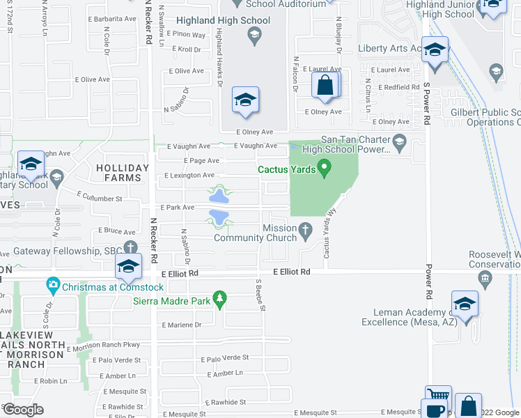 map of restaurants, bars, coffee shops, grocery stores, and more near North Beebe Street in Gilbert