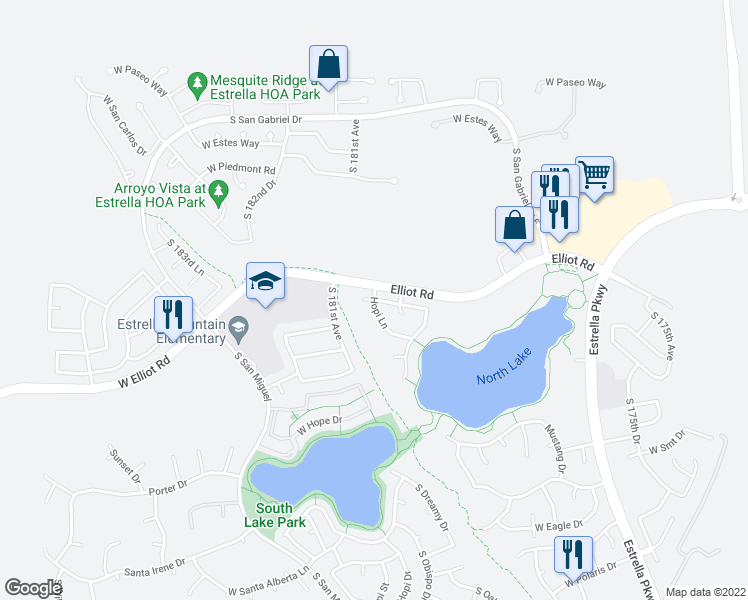 map of restaurants, bars, coffee shops, grocery stores, and more near W Cardinal Dr & Hopi Ln in Goodyear