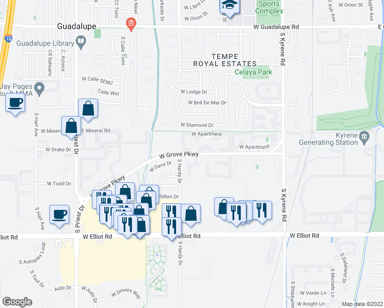 map of restaurants, bars, coffee shops, grocery stores, and more near South Apartment in Tempe