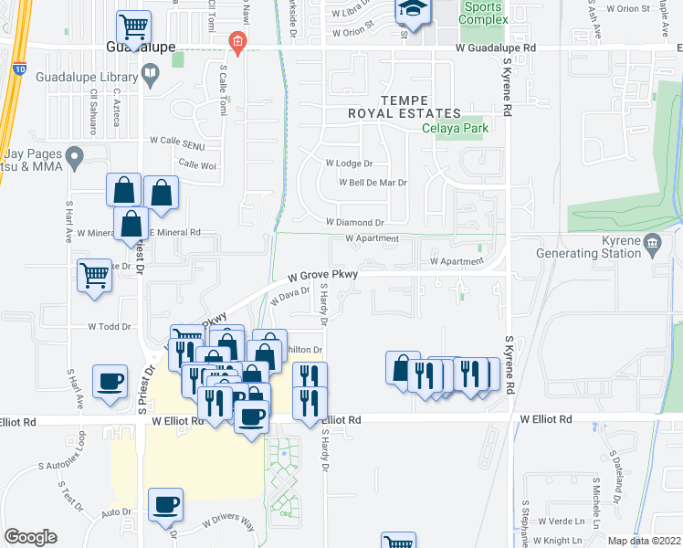 map of restaurants, bars, coffee shops, grocery stores, and more near West Grove Parkway in Tempe