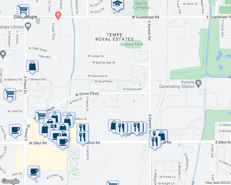 map of restaurants, bars, coffee shops, grocery stores, and more near 900 West Grove Parkway in Tempe
