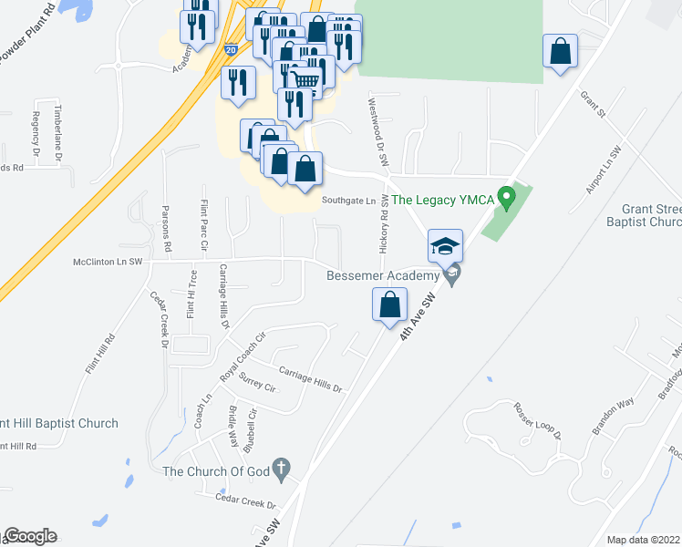 map of restaurants, bars, coffee shops, grocery stores, and more near 433-453 Flint Hill Road in Bessemer