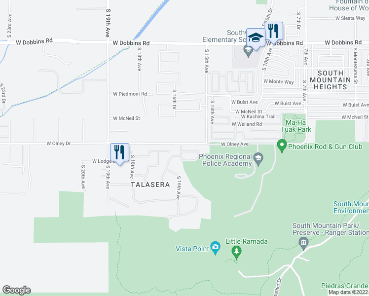 map of restaurants, bars, coffee shops, grocery stores, and more near 1524 West Moody Trail in Phoenix