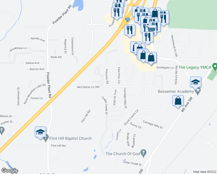 map of restaurants, bars, coffee shops, grocery stores, and more near 560 Flint Hill Road in Bessemer
