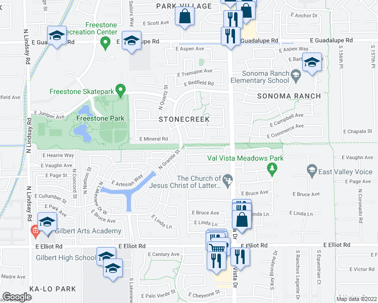 map of restaurants, bars, coffee shops, grocery stores, and more near 1408 East Hearne Way in Gilbert
