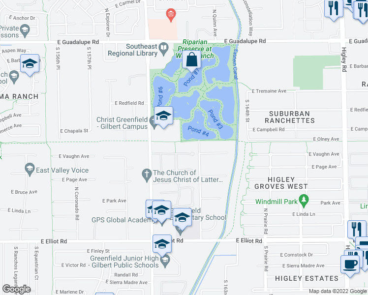 map of restaurants, bars, coffee shops, grocery stores, and more near 2540 East Vaughn Court in Gilbert