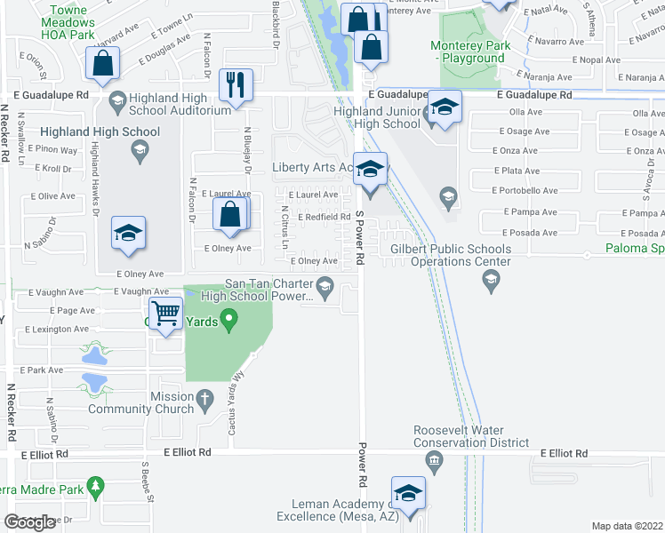 map of restaurants, bars, coffee shops, grocery stores, and more near 4729 East Olney Avenue in Gilbert