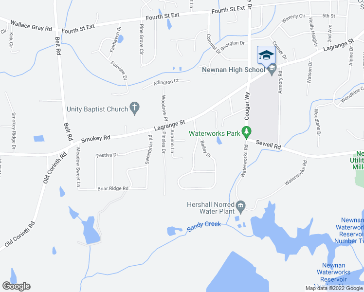map of restaurants, bars, coffee shops, grocery stores, and more near 13 Oakmount Drive in Newnan
