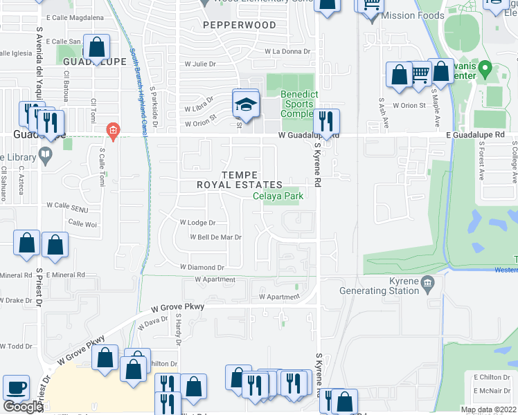 map of restaurants, bars, coffee shops, grocery stores, and more near 504 West Carmen Street in Tempe