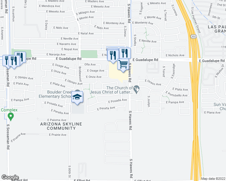 map of restaurants, bars, coffee shops, grocery stores, and more near 8243 East Plata Avenue in Mesa