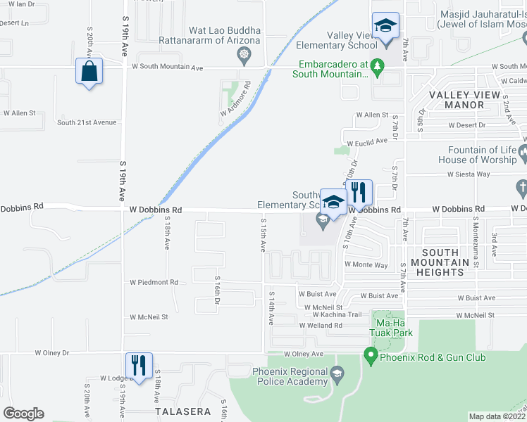 map of restaurants, bars, coffee shops, grocery stores, and more near W Dobbins Rd & S 15th Ave in Phoenix