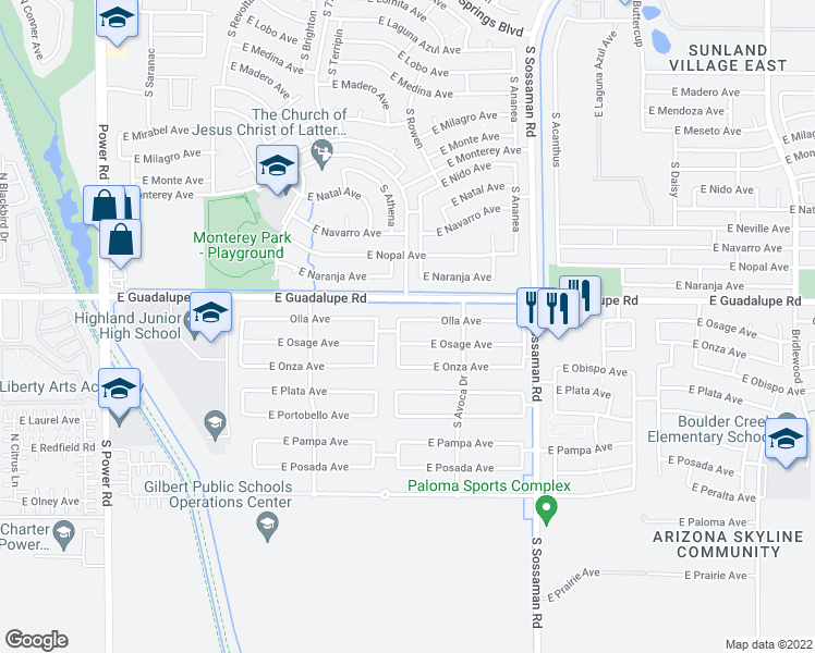 map of restaurants, bars, coffee shops, grocery stores, and more near 7349 East Olla Avenue in Mesa