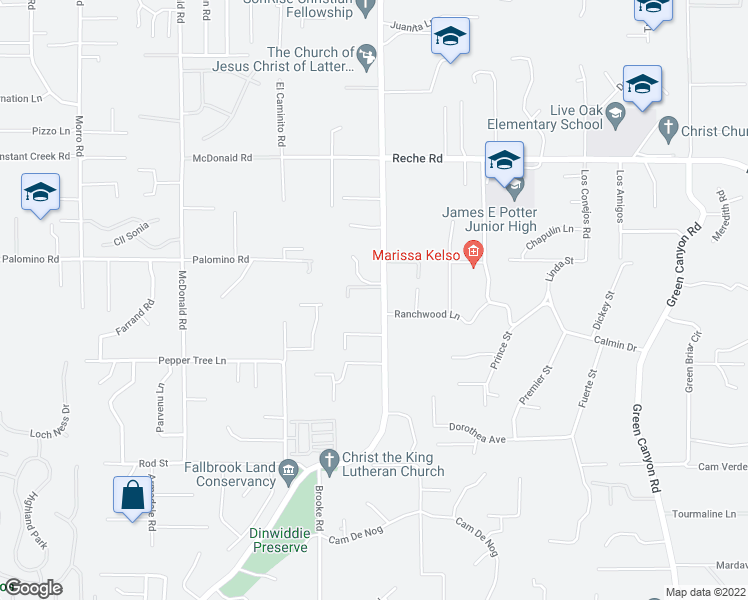 map of restaurants, bars, coffee shops, grocery stores, and more near 1105 South Stage Coach Lane in Fallbrook