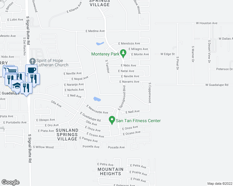 map of restaurants, bars, coffee shops, grocery stores, and more near 2663 South Springwood Boulevard in Mesa