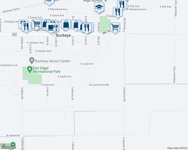 map of restaurants, bars, coffee shops, grocery stores, and more near 813 East Roberts Avenue in Buckeye