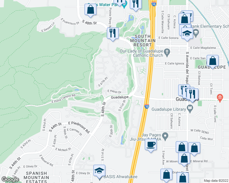 map of restaurants, bars, coffee shops, grocery stores, and more near East Hazel Drive in Phoenix