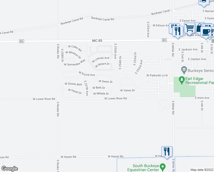 map of restaurants, bars, coffee shops, grocery stores, and more near 25558 West Beth Drive in Buckeye