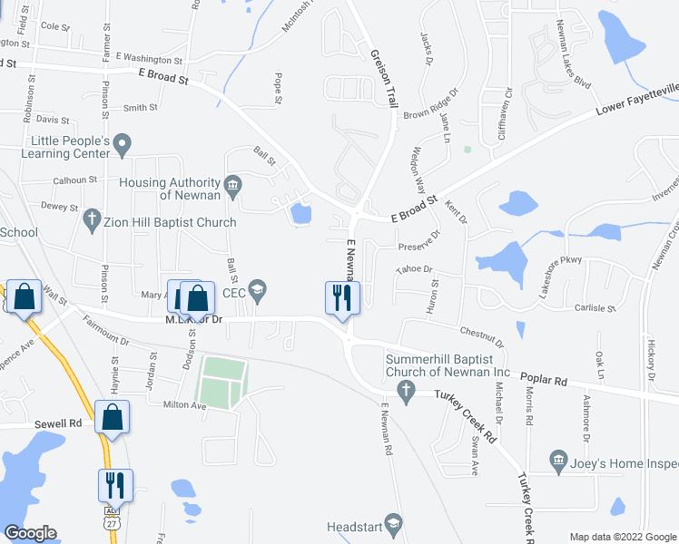 map of restaurants, bars, coffee shops, grocery stores, and more near 43 East Newnan Road in Newnan