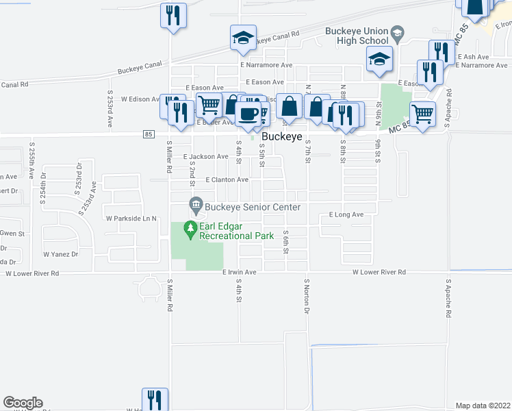 map of restaurants, bars, coffee shops, grocery stores, and more near 415 South 5th Street in Buckeye