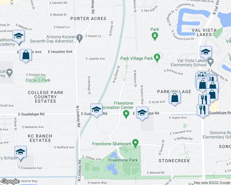 map of restaurants, bars, coffee shops, grocery stores, and more near 1033 East Harvard Avenue in Gilbert