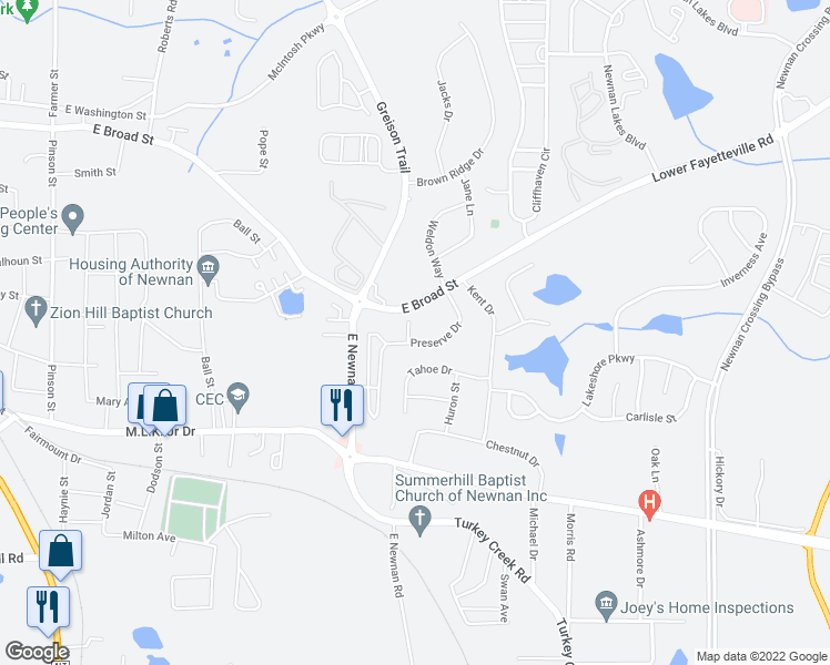 map of restaurants, bars, coffee shops, grocery stores, and more near 11 Rockcress Court in Newnan