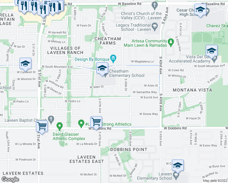 map of restaurants, bars, coffee shops, grocery stores, and more near 8627 S 46th Dr in Phoenix