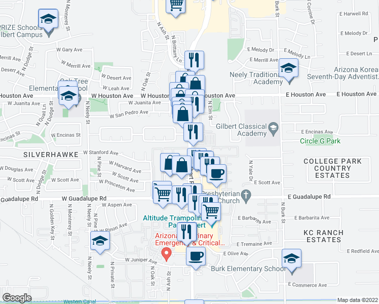 map of restaurants, bars, coffee shops, grocery stores, and more near Country Villa Apartments in Gilbert