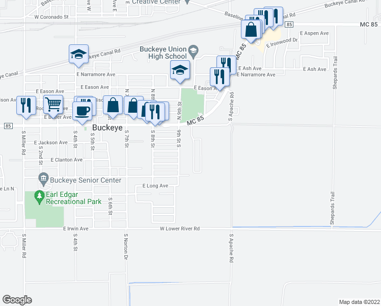 map of restaurants, bars, coffee shops, grocery stores, and more near 300 9th Street South in Buckeye