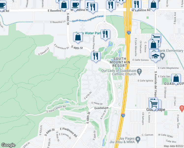 map of restaurants, bars, coffee shops, grocery stores, and more near 4628 East Winston Drive in Phoenix