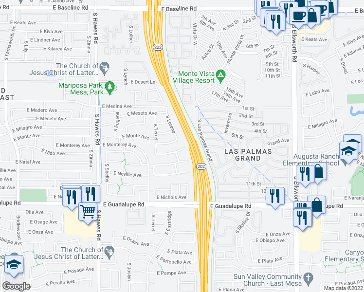 map of restaurants, bars, coffee shops, grocery stores, and more near 8736 East Nido Circle in Mesa