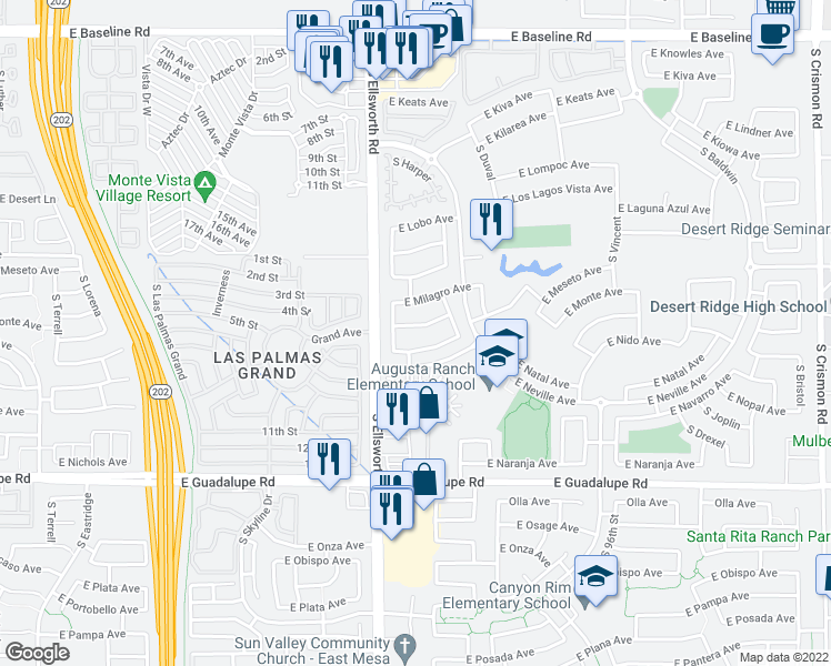map of restaurants, bars, coffee shops, grocery stores, and more near 9247 East Monte Avenue in Mesa