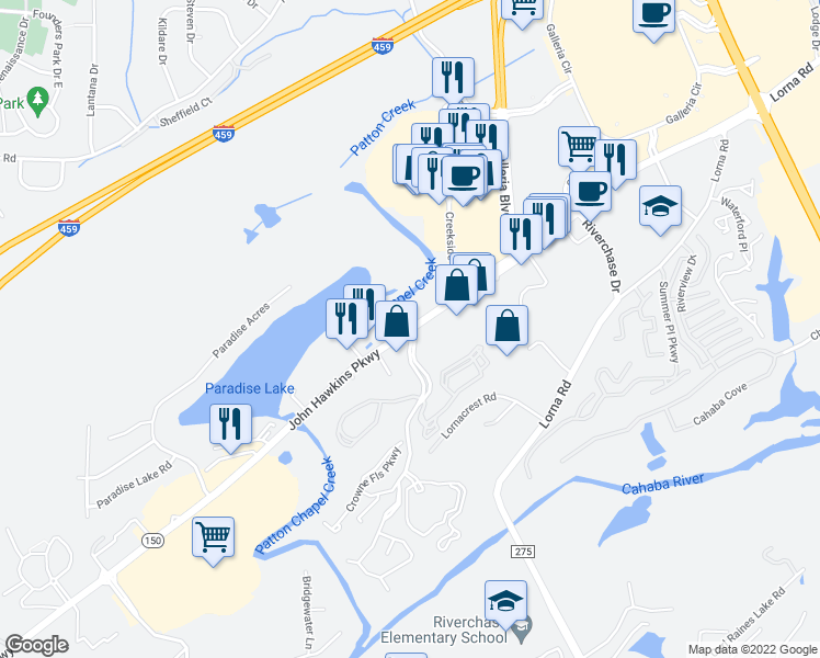 map of restaurants, bars, coffee shops, grocery stores, and more near 2969 John Hawkins Parkway in Birmingham