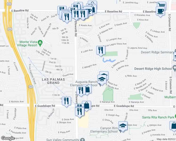 map of restaurants, bars, coffee shops, grocery stores, and more near 9304 East Monte Avenue in Mesa