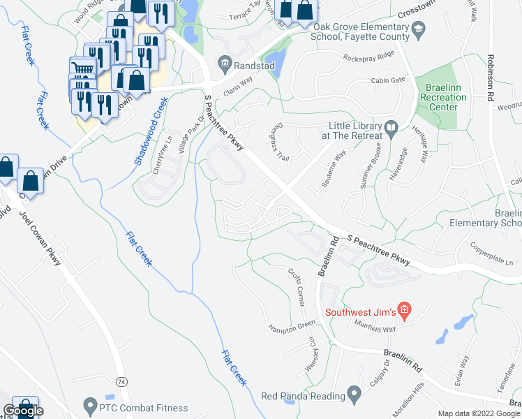 map of restaurants, bars, coffee shops, grocery stores, and more near 450 South Peachtree Parkway in Peachtree City