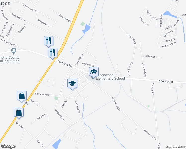 map of restaurants, bars, coffee shops, grocery stores, and more near 4133 Gracewood Drive in Augusta